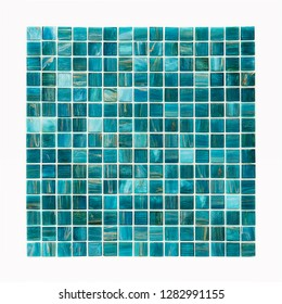 Square background mosaic, ceramics. Abstract pixels. Ceramic tiles. Texture for facing the walls of the pool, bathroom, kitchen, tiled floor.