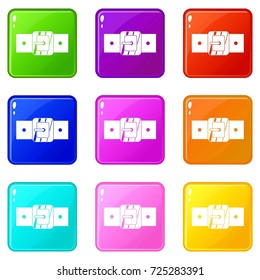 Square belt buckle icons of 9 color set isolated  illustration