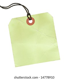 Square blank lime green tag with a black cord.