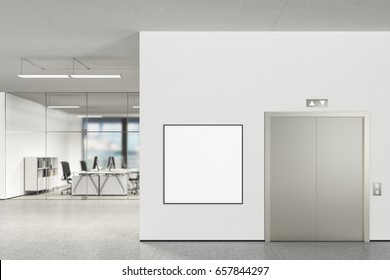 Square blank poster on the wall and elevator  in modern office with clipping path around poster. 3d illustration