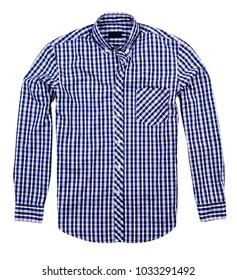 square blue shirt, white background