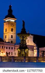 Square in Bohemian Budejovice (Ceske Budejovice), Czech Republic, Europe