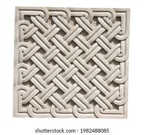 Square braided stone ornament. Old stone wall detail with decorative pattern. Isolated on white background - Shutterstock ID 1982488085