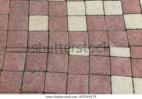 Square Brick sidewalk in red and white