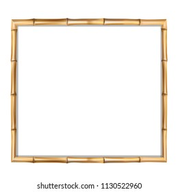 Square brown wooden border frame made of realistic brown bamboo sticks with empty copy space for text or image inside. clip art, banner, poster or photo frame isolated on white background.