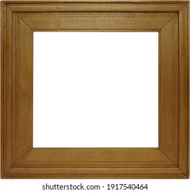 Square brown wooden frame on white background