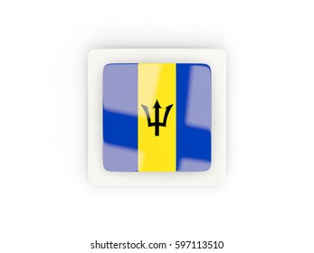 Square carbon icon with flag of barbados. 3D illustration