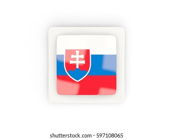 Square carbon icon with flag of slovakia. 3D illustration