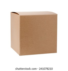 Square Cardboard Gift Box isolated on white. It includes a clipping path. The image is in full focus, front to back.