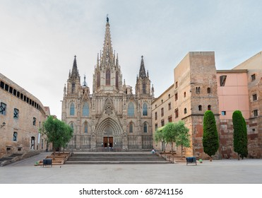 Square with cathedral church in Gotic quarter of Barcelona, Spain