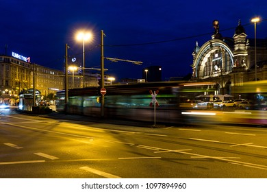 Square Central Station Frankfurt at night with blurred traffic of pedestrians, trams, busses and cars, night shot, Frankfurt, Germany, Central Railway Station on May, 20th, 2018