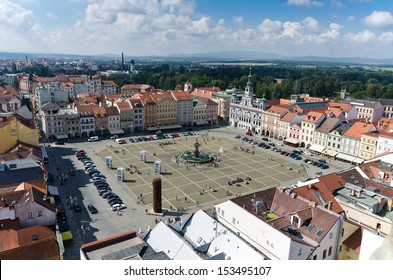 square of Ceske Budejovice in the region of Bohemia, Czech Republic