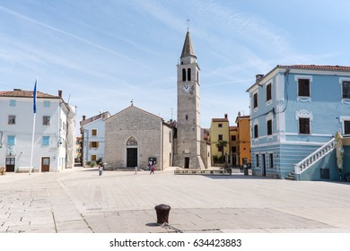 square with church in the city Fazana , Croatia