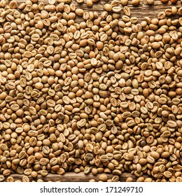 Square closeup background texture of raw brown Arabica or Java coffee beans rich in caffeine, a natural stimulant