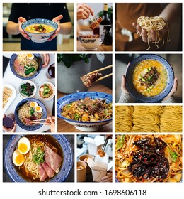 Square collage with various Asian Japanese ramen noodle dishes cooking in a traditional blue tableware for menu design