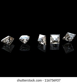 Square. Collections of jewelry gems on black background. Cognac diamond