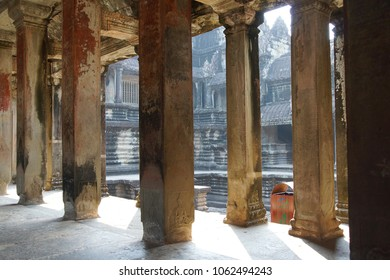 Square columns of the inner galleries of  Angkor Wat,  Cambodia