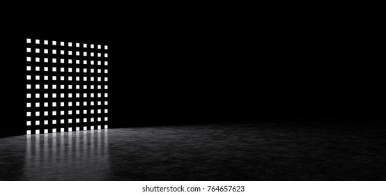 A square consisting of luminous points in a dark space. 3D Render
