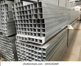 stack of galvanized square steel pipes for construction supplies