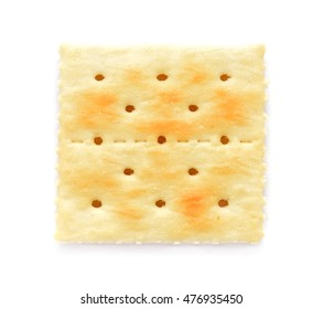 square crackers isolated on white background. Top view.