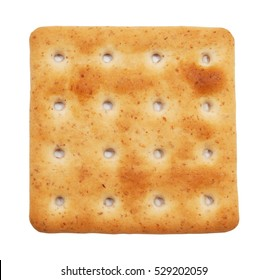 Of square crackers isolated on white background. Small load of bread.