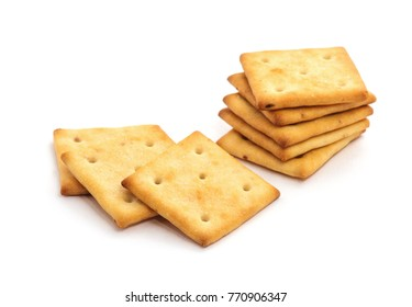 square crackers isolated on white background.