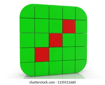 Square of cubes in green and redvcolors.3d illustration