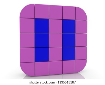 Square of cubes in purple and blue colors.3d illustration