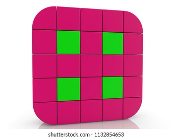Square of cubes in purple and green colors.3d illustration