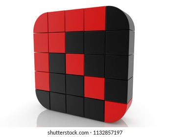Square of cubes in red and black colors.3d illustration