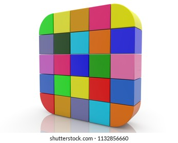 Square of cubes in various colors.3d illustration