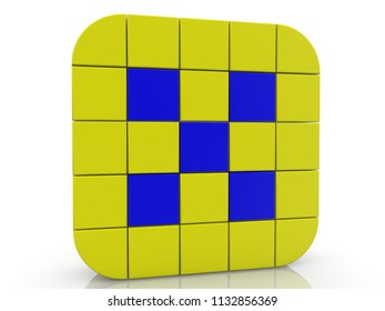 Square of cubes in yellow and blue colors.3d illustration