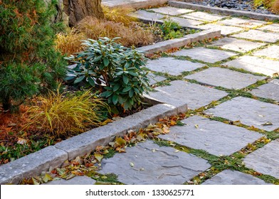 Square cut flagstone with natural stone curbing provides a contemporary zen feel to this small urban garden.
