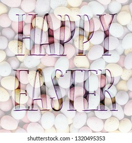 Square Easter background, with Happy Easter quote. Great for social media campaigns.