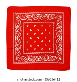 Square Fabric Red Handkerchief Isolated on a White Background.