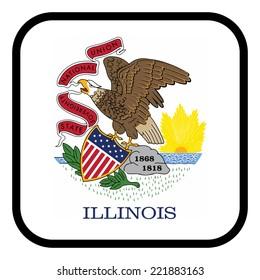 Square flag button series - Illinois