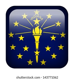 Square flag button series - Indiana