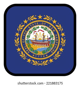 Square flag button series - New Hampshire