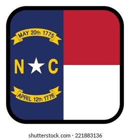 Square flag button series - North Carolina