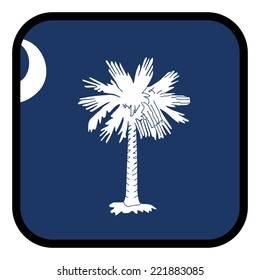 Square flag button series - South Carolina