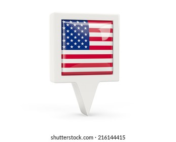 Square flag icon of united states of america isolated on white