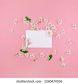 Square flat lay concept top view of blank letter envelope and spring cherry tree flowers on millennial pink background with copy space in minimal style, template for celebration, valentine cards