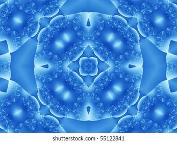 square flower tile in blue