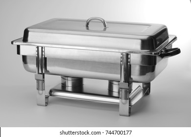 square food warmer in polished steel isolated on white background