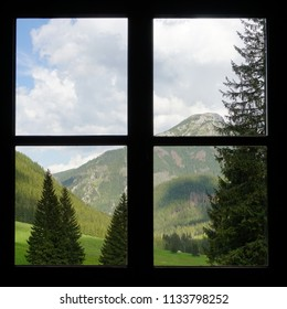 Square format photograph of window with the picturesque view at Chocholowska Valley in Tatra Mountains, Poland