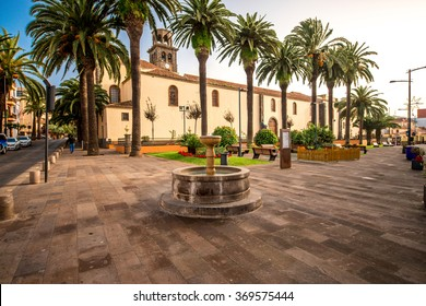 Square with fountain near the church of the Immaculate Conception in La Laguna town on Tenerife island