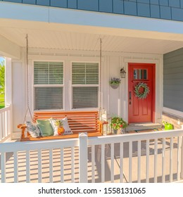 Square frame Front porch of traditional home and swinging chair