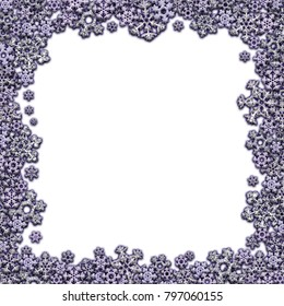 Square frame made of different white snowflakes on white background. 3D render.