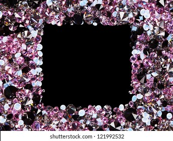 Square frame made from many small purple diamonds, with copy space on black