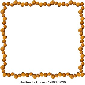 Square frame made of walnuts on a white background. Useful for blog posts, articles, posts, marketing purposes, greeting or invitation cards.